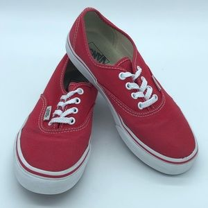 VANS red lace up sneakers